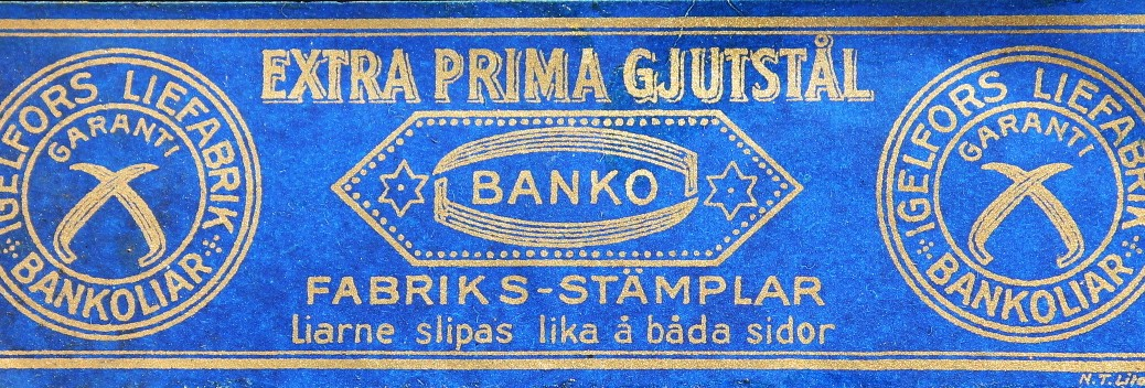 One of the labels on a Banko scythe blade by Igelfors Liefabrik of Sweden